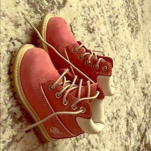 Size 5, baby girl pink Timberland boots.